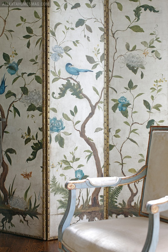 Biombo pintado, painted folding screen