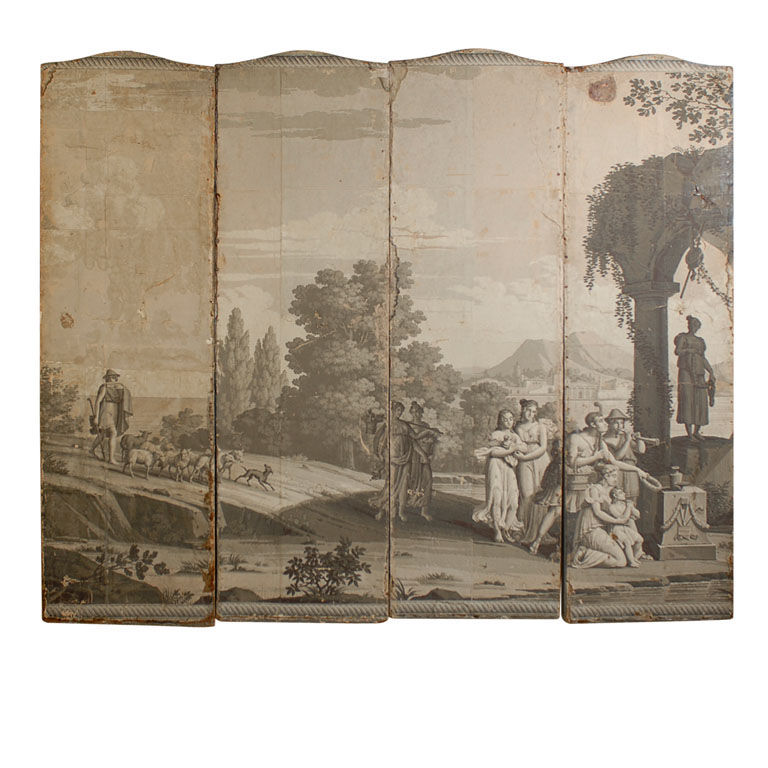 Biombo empapelado en papel Zuber - Screen with Zuber wallpaper in grisaille