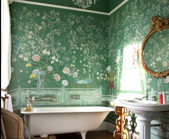 De Gournay wallpapered bathroom