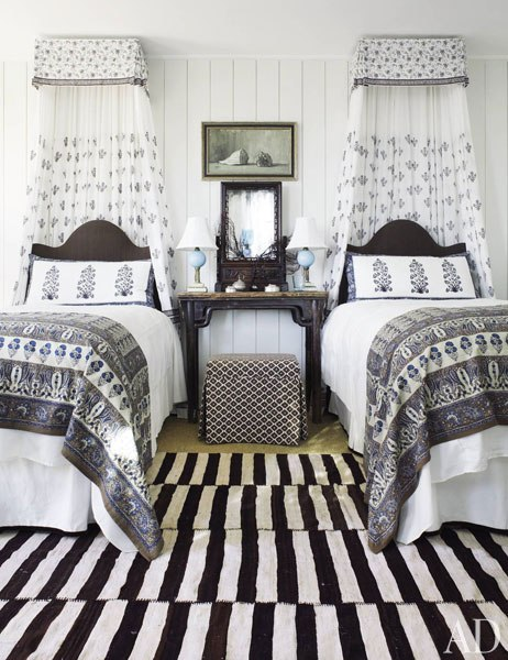 twin beds alfombra rayas