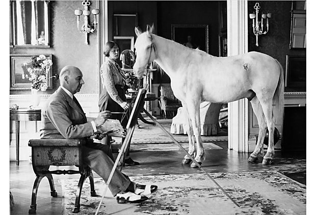 Lord Berners pintando a Mrs. P Betjeman y caballo