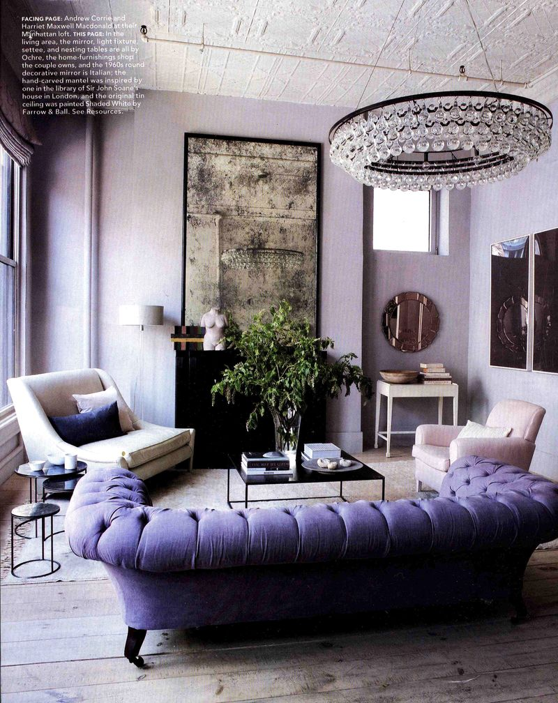 Interesting-Decorating-with-Lavender-Color-Walls-with-sofa-pillow-chair-table-chandelier-lamp-big-window-door-mirror-and-hardwood-flooring